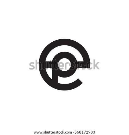 initial letter logo ep, pe, p inside e rounded lowercase black monogram