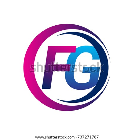 Initial Letter Logo Fg Company Name Blue And Magenta Color On Circle