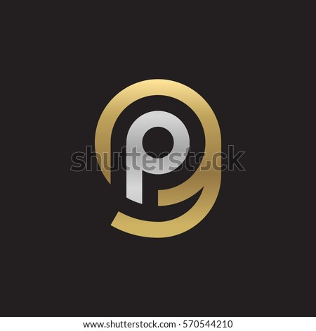 initial letter logo gp, pg, p inside g rounded lowercase logo gold silver