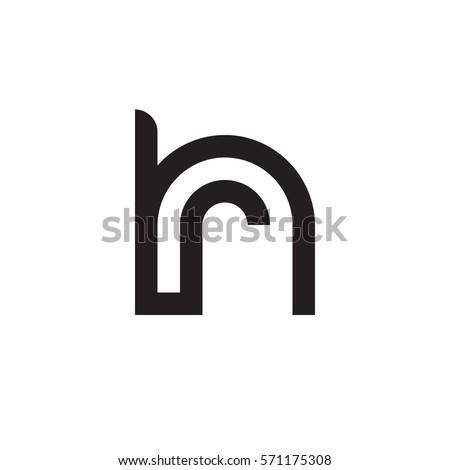 initial letter logo hr, rh, r inside h rounded lowercase black monogram