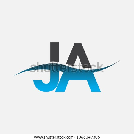 Initial letter logo JA company name blue and black color swoosh design. vector logotype for business and company identity.