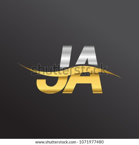 initial letter logo JA company name gold and silver color swoosh design. vector logotype for business and company identity.