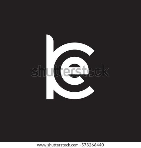 initial letter logo ke, ek, e inside k rounded lowercase white black background Stok fotoğraf ©