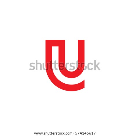 Initial Letter Logo Lu Ul Circle Rounded Lowercase Red Flat Ez