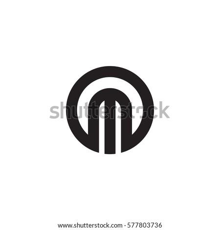 initial letter logo m inside circle shape, om, mo, m inside o rounded lowercase black monogram Foto stock ©