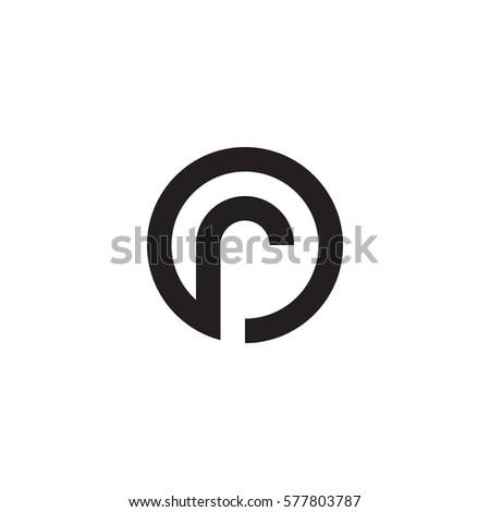 initial letter logo r inside circle shape, or, ro, r inside o rounded lowercase black monogram Foto stock ©