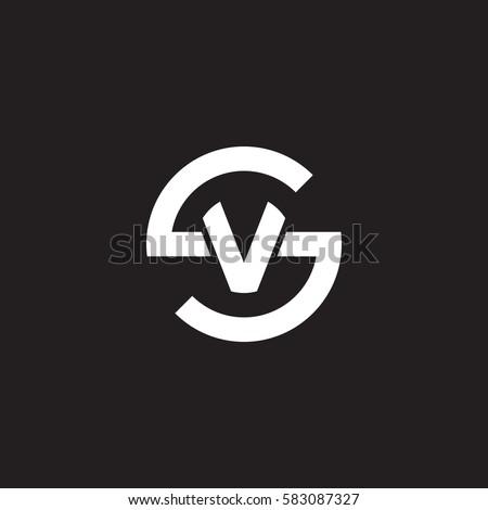 initial letter logo sv, vs, v inside s rounded lowercase white black background Stock fotó ©