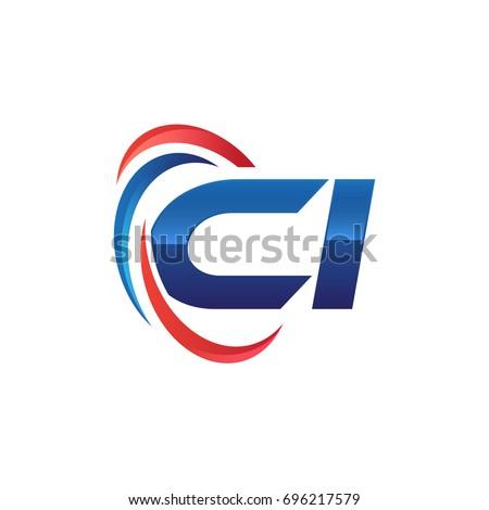 initial letter logo swoosh red blue Stock fotó ©