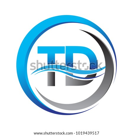 initial letter logo TD company name blue and grey color on circle and swoosh design. vector logotype for business and company identity.
