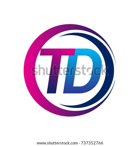 initial letter logo TD company name blue and magenta color on circle and swoosh design. vector logotype for business and company identity.