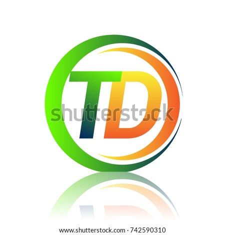 initial letter logo TD company name green and orange color on circle and swoosh design. vector logotype for business and company identity.