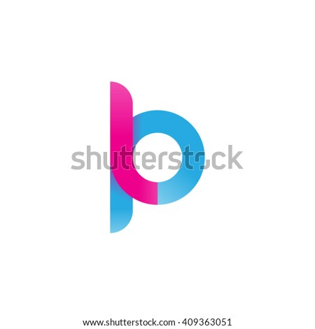 initial letter lp linked round lowercase logo pink blue Stock fotó ©