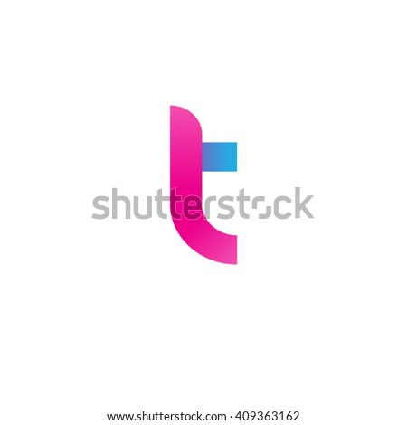 initial letter lt linked round lowercase logo pink blue