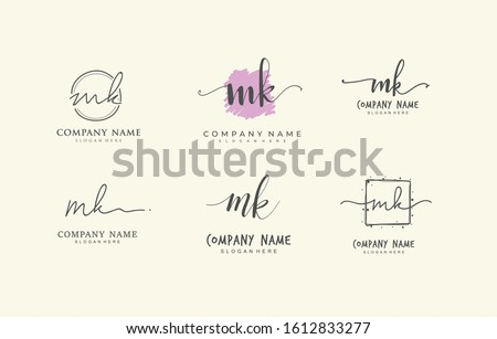 Initial letter M K MK bundle for identity and logo. Vector logo template with handwriting and signature style. Stock fotó ©
