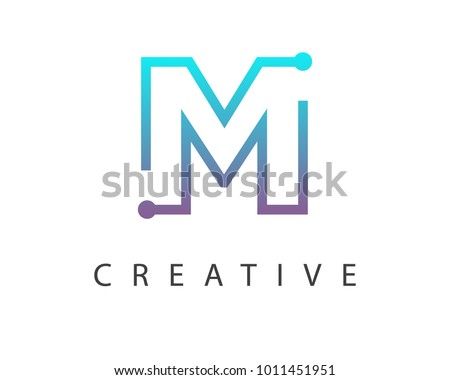 Initial Letter M logo Connected circle symbol. Design Template Element