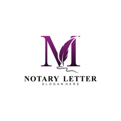 Initial letter M logo with Feather Luxury gold.