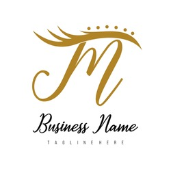 Initial Letter M Modern Luxury Eye Lash, Lashes, Beauty, Salon, Spa, Cosmetic, Makeup Business Logo Concept