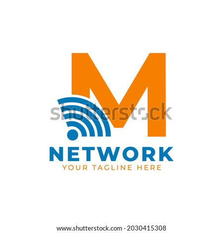 Initial Letter M with Signal Sign Logo Branding Identity Logo Design Template Zdjęcia stock ©