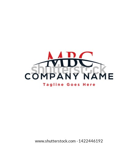 Initial letter MBC, overlapping movement swoosh horizon logo company design inspiration in red and dark blue color vector