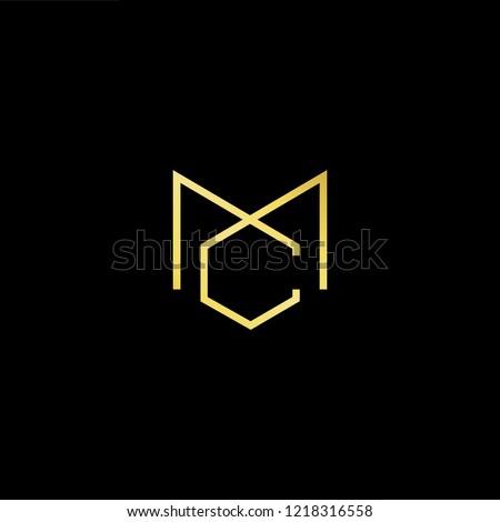 Initial letter MC CM minimalist art logo, gold color on black background.