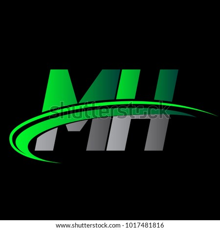 initial letter mh logotype...