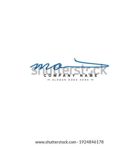 Initial Letter MO Logo - Handwritten Signature Logo Foto stock ©
