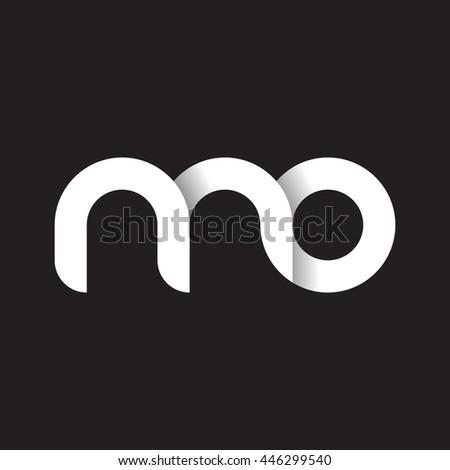 initial letter mo modern linked circle round lowercase logo white black Foto stock ©