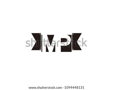 Initial letter mp black ribbon logo design