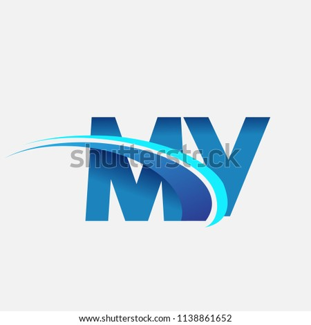 initial letter MY logotype company name colored blue and swoosh design. vector logo for business and company identity.
