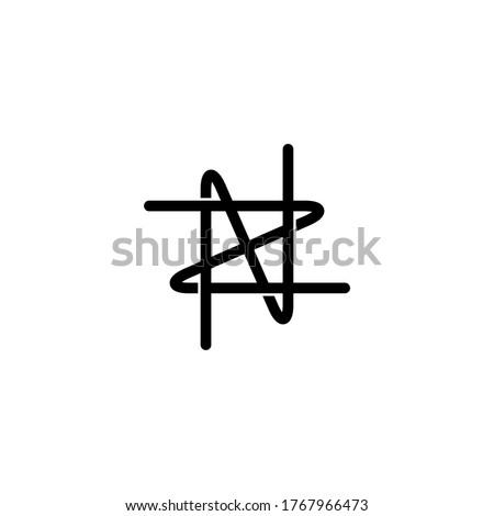 initial letter N and Z, NZ, ZN logo, monogram line art style design template Stock fotó ©