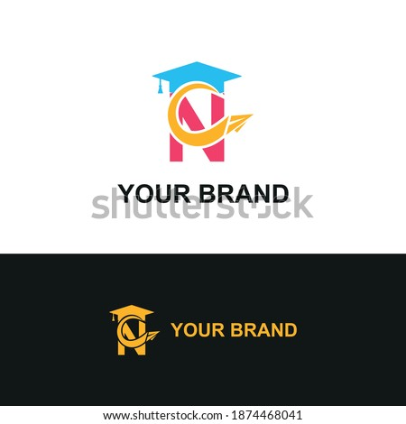 Initial letter N with toga hat  graduation gown and paper plane flying around for education academy logo concept  Foto stock ©