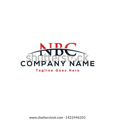 Initial letter NBC, overlapping movement swoosh horizon logo company design inspiration in red and dark blue color vector