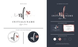 initial letter NF N F handwriting logo design with butterfly. Feminine branding for beauty salon, massage, cosmetics or spa.