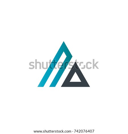 initial letter uo linked triangle design logo ez canvas