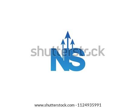 Initial Letter NS Arrow Chart Finance Business Stock fotó ©