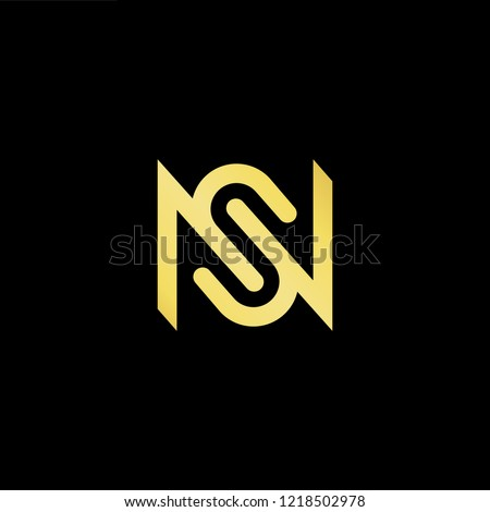 Initial letter NS SN minimalist art logo, gold color on black background.