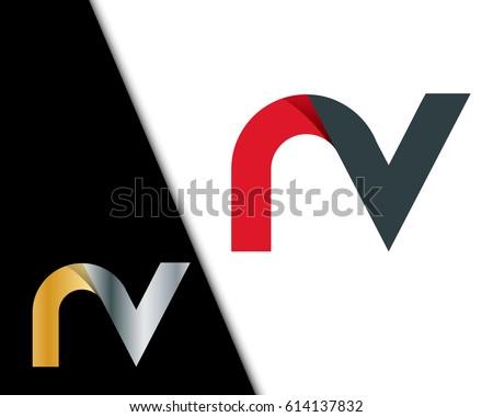 Initial Letter NV RV Rounded Lowercase Logo Stock fotó ©