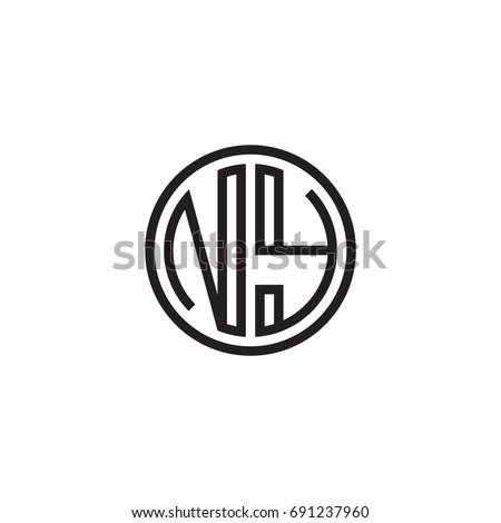 Initial letter NY, minimalist line art monogram circle logo, black color Stok fotoğraf ©