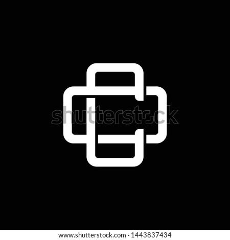 Initial letter O and C, OC, CO, overlapping interlock monogram logo, white color on black background Foto stock ©