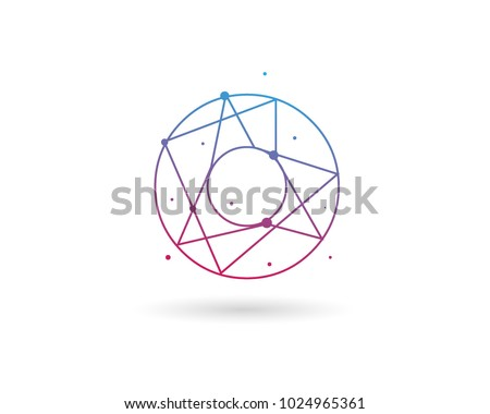 Initial Letter O Connected Circle Network Logo Design Template Element