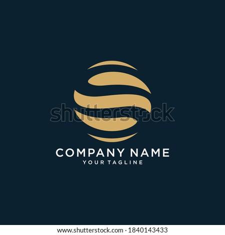 Initial letter O S, OS, SO, minimalist art, gold monogram logo shape on black background Zdjęcia stock ©