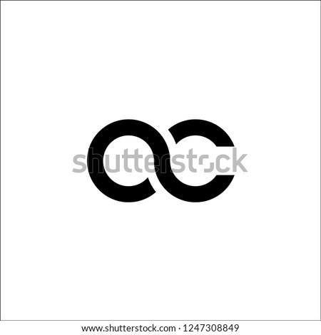 initial letter oc linked round lowercase monogram logo black Photo stock ©