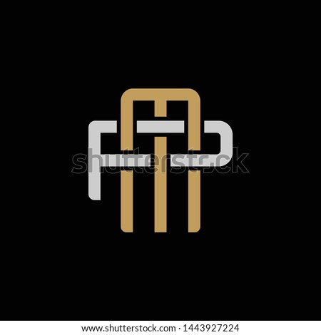 Initial letter P and M, PM, MP, overlapping interlock logo, monogram line art style, silver gold on black background
