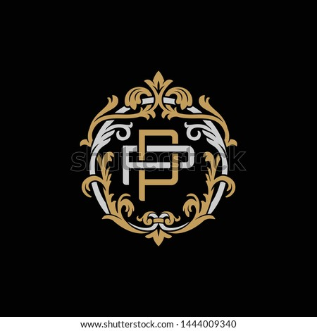 Initial letter P and P, PP, decorative ornament emblem badge, overlapping monogram logo, elegant luxury silver gold color on black background