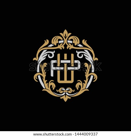 Initial letter P and W, PW, WP, decorative ornament emblem badge, overlapping monogram logo, elegant luxury silver gold color on black background