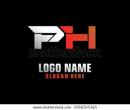 initial letter p h logo template vector