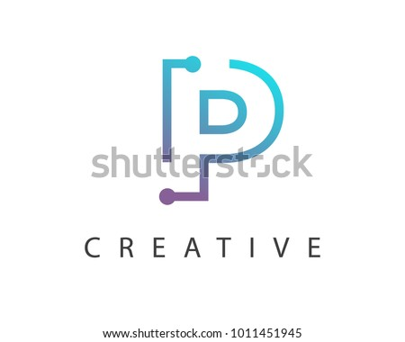 Initial Letter P logo Connected circle symbol. Design Template Element