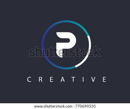 initial letter p logo design template with circle colored
