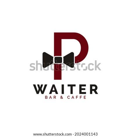 Initial Letter P Waiter Bow Tie Hotel Restaurant Logo Design. Waitress Vector Logo Template. Zdjęcia stock ©