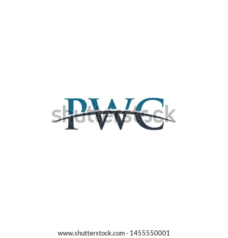 Initial letter PWC, overlapping movement swoosh horizon logo company design inspiration in blue and gray color vector